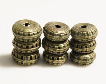 African Brass Spacer Beads (9), Tribal Beads,  Ethnic Jewelry Supplies (AD65)