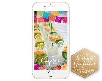 Papel Picado Bright Floral Wedding Snapchat Geofilter | Custom Geofilter | Bridal Shower Geofilter | Wedding Geofilter | Instant Geofilter