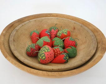 set of 12 strawberries , made from early calico , (#2)