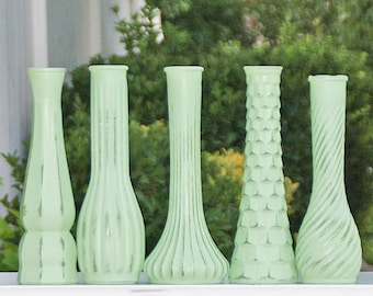 Mint Green Bud Vase Set OF 5 Shabby Chic Vintage Made To Order