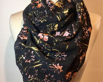 Midnight Countryside, hand woodblock printed gold and copper metallic hand painted silk black crepe scarf, floral scarf