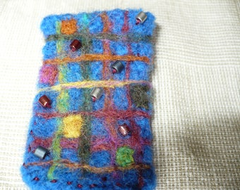 Royal Blue Abstract Felted Wool Brooch