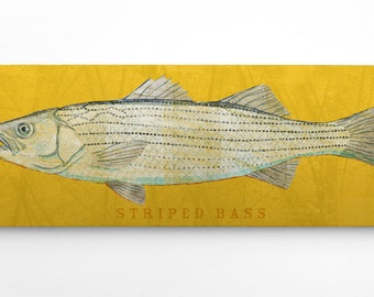 Gift, Outdoor Gift for Man, Fishing Gift for Man, Striped Bass Art Block, Good Gifts for Men, Lake House Art, Striped Bass Print