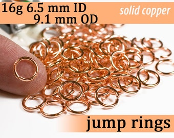 16g 6.5 mm ID 9.1 mm OD copper jump rings -- 16g6.50 jumprings links