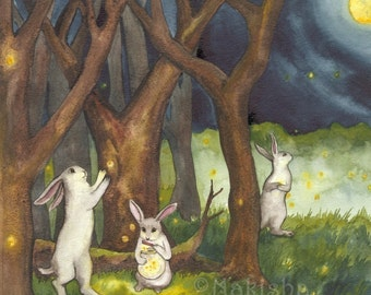 Fireflies-  Fine Art Rabbit  - Large Size