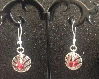 99.9% Fine Silver Earrings with red faceted Czech glass beads, Dangly Earrings, Drop Earrings, Valentine's Day, Ready to ship
