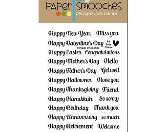 Paper Smooches Clear Stamp Set All Year Cheer, photopolymer stamp, card making, scrapbooking, sentiments