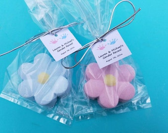 Gender Reveal Favors! Baby Shower Favors-Bath Bomb Favors 12 Bath Bomb Daisies individually wrapped and personalized. We love to customize!