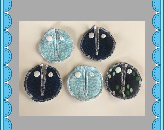 Belly Buddies (G and Mic-Key covers and pads) Feeding Tubes (Blue Cotton+Steel Fabric's)