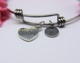 Sister Bangle Silver Sister Charm Bangle Sister Charm Bracelet Sister Charm Sister Jewelry Sister Gift Personalized Initial Bracelet
