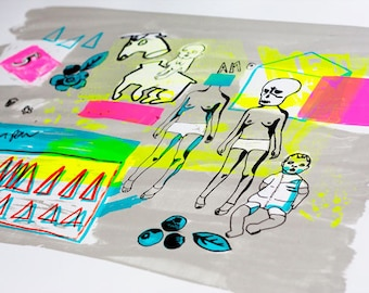 Fluorescent Screen Print, Limited Edition Screen Print, Art Print, Wall Art, Contemporary Print - Headless Horse