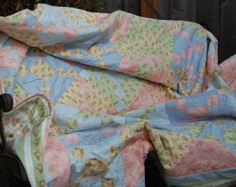 Grandma's Pink, Blue, Green, and Yellow Pastel Dream Oversize Lap Quilt
