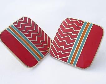 Vintage Laurel Burch Ahktar Earrings, Red 1980s Post Earrings by Laurel Burch