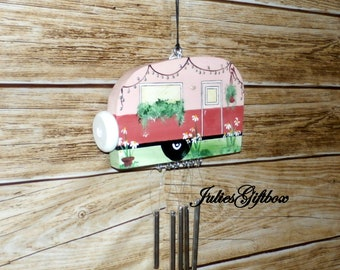 Hand Crafted Wood Travel Trailer Camper Wind Chime Hand Painted-Indoor/Outdoor-Mothers Day-One of a Kind-Summer Camping