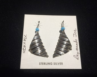 Genuine Authentic Native American Indian handmade stirling silver and turquoise dangle earrings
