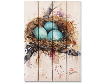 Robins Nest Watercolor on Wood. Bird Art Print. Bird Home Decor, Indoor and Outdoor Safe Solid Wood Wall Art. (DCRN)