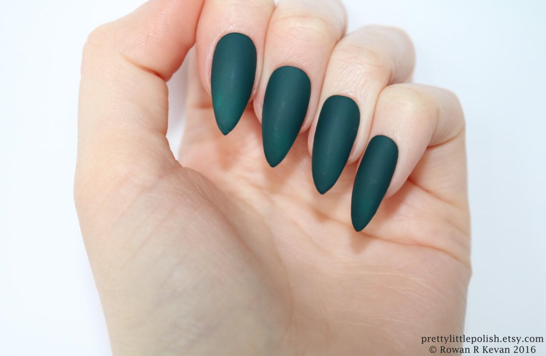 Stiletto nails Matte dark green stiletto nails Fake nails