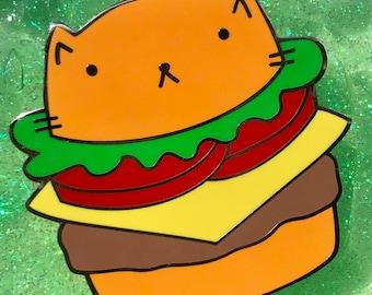 Cheeseburger Cat Enamel Pin. Burger Cat. Cheeseburger Lover Gift. Cat Lover Gift. Cat Lover Birthday Gift. Cheeseburger Pin. Cat Pin. XL Pin