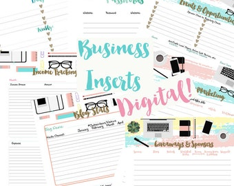 "8.5x11"" Online Business Printable Inserts for US Letter Size 3-Ring Binder OR New BIG Happy Planner!"