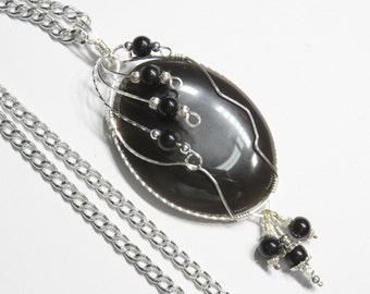 S-70 Black Obsidian Wirewrapped Pendant Sterling Silver, Obsidian Pendant, Obsidian Necklace, Gemstone Pendant, Gemstone Necklace
