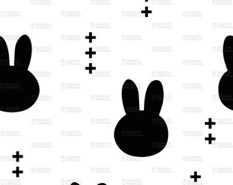 Bunnies - Black on White Fabric by littlearrowdesigncompany - Cotton/ Polyester/ Jersey/ Canvas/ Digital Printed