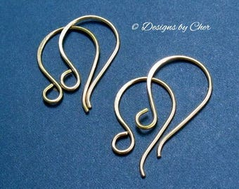 Hammered 14kt Gold Filled Earwires, Classic French Hooks (2pr) Artisan Jewelry Findings MTO