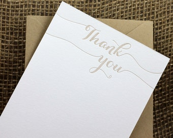 Letterpress Thank you card set, thank you flat cards with script