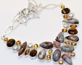 Crazy Lace Agate, Pearl,  Citrine Quartz Handmade 925 Silver Plated Cluster Necklace Jewelry B 606