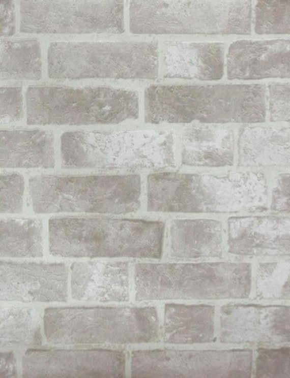 Faux Distressed Gray Brick And Mortar Wall Off White Stone