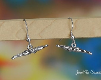 Sterling Silver Female Swimmer Earrings Pierced Earwires Solid .925