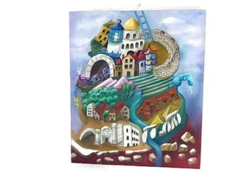 Surreal art. Oil on canvas. Surreal painting. Biblical art. Surrealist.  Bible stories. Old testament. Biblical wall art. Tower of babel.