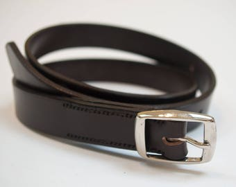 Leather belt brass buckle hand-stitched brown