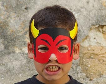 DEVIL Paper Mask - Kids Halloween Costume - Printable Mask