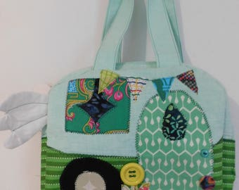 Handcrafted Cute Kitschy Camper Bag, Whimsical 10x9x3 Inches
