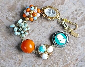 Coral and Turquoise Vintage Earring Bracelet, Bridesmaid Gift Aqua Orange Gold Boho, Reclaimed Upcycled, Under 40 Cameo, Jennifer Jones OOAK
