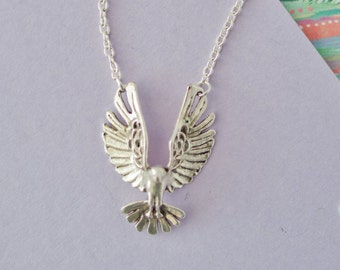 Silver Eagle Necklace, Eagle Charm Necklace, Eagle Jewellery, Eagle Necklace, Eagle Choker, Bird Necklace, Teenager Gift, Eagle Pendant