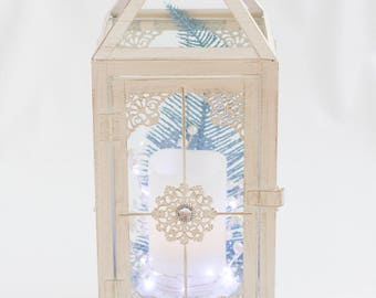 Blue and White Lantern / Wedding Lantern / lantern with candle / shipping included / gift for her / centrepiece / Christmas lantern
