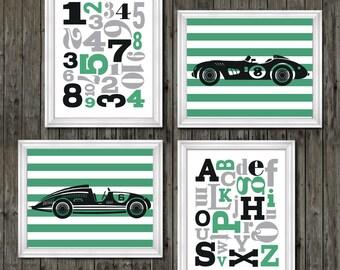 Vintage race car nursery, race car nursery, boys race car nursery, race cars, boys race car bedroom, race car art, green race cars, boys art