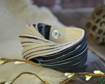 SOFT THICK LEATHER bangle cuff black taupe beige brown Boho girlfriend gift under 30