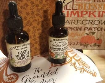 All-Natural Face Rescue Serum & Golden Glow Face Serum| Fine Lines| Brighten| Tone| SALE| Moisturize| Renew| Vegan