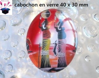 1 cabochon glass 40x30mm African theme