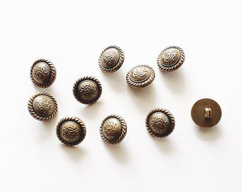 25x Badge Antique Bronze Shank Vintage Hole Buttons 18x18mm