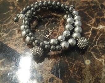 Dark gray charm wrap bracelet