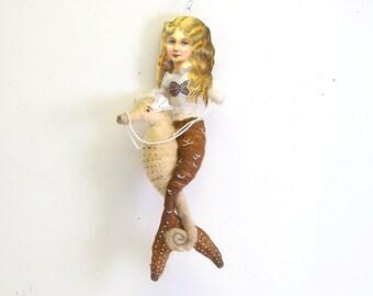 Spun Cotton Vintage Style Mermaid Riding Seahorse Ornament (MADE TO ORDER)