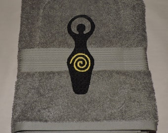 RTS Spiral Goddess Embroidered Bath Towel Wicca witchcraft Bathroom Trippe goddess Pagan spirituality Ready to ship
