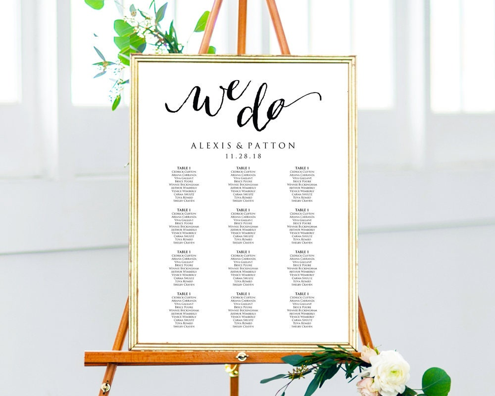 We Do Wedding Seating Chart Template in FOUR Sizes Wedding