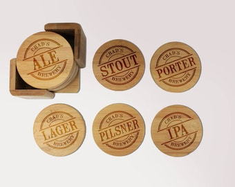 Coasters, Round or Square Coaster Set, Engraved Bamboo Wood Coasters, Beer Lover Mancave Birthday Housewarming Gift 6pc Set --6911