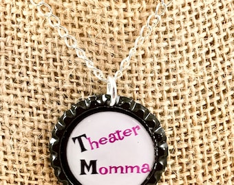 Bottle Cap Necklace - Theater Theme - Silver Chain - Mother's Day Gift - First Anniversary Gift