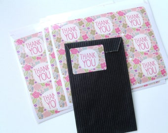 "9 gift tags ""Thank You"" stickers 4 cm * 3 cm flowers"