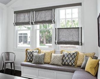 Custom Made To Order Top Down Bottom Up Flat Roman Shades (Standard or top down bottom up option)